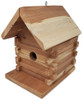 Wakefield Premium Log Cabin Birdhouse with Adjustable Hole Size - Attract Bluebirds, Wren, Chickadee, Finch, Tree Swallow and More - Handmade in USA from Cedar Wood