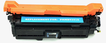 This is the front view of the Hewlett Packard 504A cyan replacement laserjet toner cartridge by NXT Premium toner