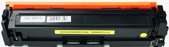 This is the front view of the Hewlett Packard 410A yellow replacement laserjet toner cartridge by NXT Premium toner
