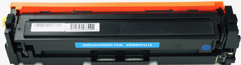 This is the front view of the Hewlett Packard 410A cyan replacement laserjet toner cartridge by NXT Premium toner