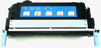 This is the front view of the Hewlett Packard 643A yellow replacement laserjet toner cartridge by NXT Premium toner
