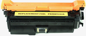 This is the front view of the Hewlett Packard 648A yellow replacement laserjet toner cartridge by NXT Premium toner