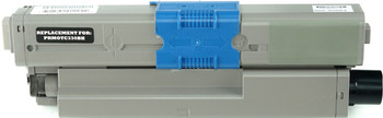 This is the front view of the Okidata 44469801 black replacement laserjet toner cartridge by NXT Premium toner