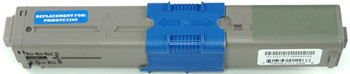 This is the front view of the Okidata 44469703 cyan replacement laserjet toner cartridge by NXT Premium toner