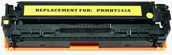 This is the front view of the Hewlett Packard 125A yellow replacement laserjet toner cartridge by NXT Premium toner