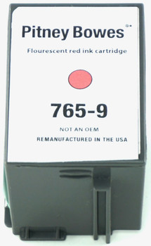 This is the front view of the Pitney Bowes 765-9 Red replacement inkjet cartridge by NXT Premium toner