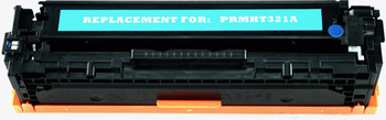 This is the front view of the Hewlett Packard 128A cyan replacement laserjet toner cartridge by NXT Premium toner