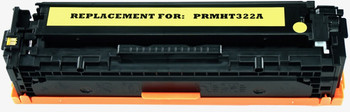 This is the front view of the Hewlett Packard 128A yellow replacement laserjet toner cartridge by NXT Premium toner