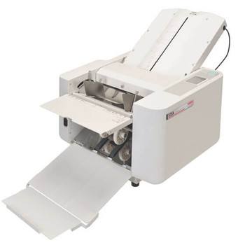 The MBM 508A automatic programmable tabletop paper folder Reliable automatic folder that comes pre-programmed with 36 standard folds. Up to 24 custom jobs can be stored in memory.