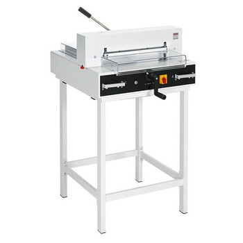 The triumph 4315 paper cutter is a dependable semi-automatic tabletop cutter with electric blade drive, manual fast-action clamp, and EASY CUT blade activation.