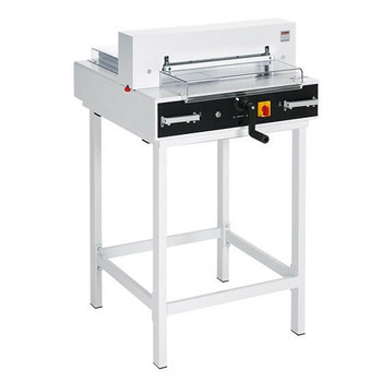 The MBM Triumph 4350 is a fully automatic tabletop cutter with electric blade drive, automatic clamp, and EASY CUT blade activation.