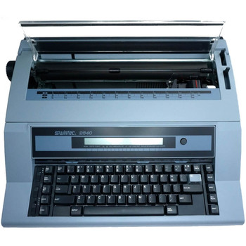 This is an image of the Swintec 2640 typewriter with the top open. It shows off the body of the typewriter, as well as some of the components inside.