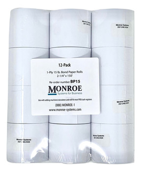 Monroe 15lb Bond Paper Rolls for Printing Calculators/Adding Machines, Cash Registers and POS Systems