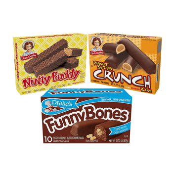 Peanut Butter Favorites features 2 boxes each of Drake's Funny Bones, Little Debbie Peanut Butter Crunch Bars, and Little Debbie Nutty Bars