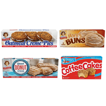 The Breakfast Variety Pack features one box each of Little Debbie Oatmeal Crème Pies, Honey Buns, and Drake's Coffee Cakes. That's four total boxes per order.
