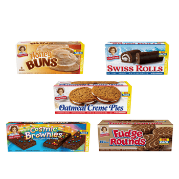 This Little Debbie Big Pack Variety Bundle five big pack boxes of Little Debbie favorites. Included with this order will be one box each of Oatmeal Creme Pies, Honey Buns, Swiss Rolls, Fudge Rounds and Cosmic Brownies.