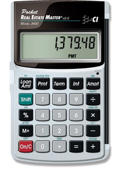 Front face of Calculated Industries Pocket Real Estate Master calculator