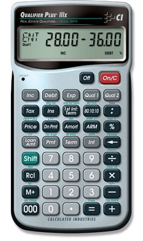 Front face of Calculated Industries Qualifier Plus IIIx calculator