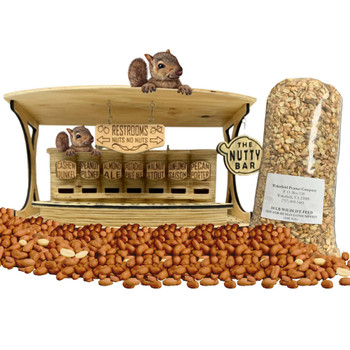 The Nutty Bar Nutty Combo Pack | Saloon Style Nut Feeder with 10 lbs of Wakefield Peanuts