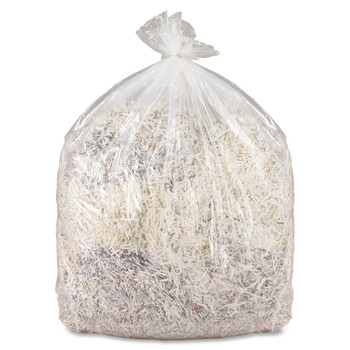 MBM 902 Shred Bag with paper shreddings for use in the MBM 2360, 2401L, 2402, 2403 and 2404 shredders. Shows tear resistance of bag