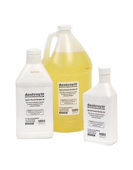 Three different sizes of MBM Destroyit Shredder Oil-- pint, quart and gallon