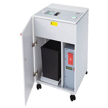 This is an image of the MBM Destroyit Degausser/Hard Drive Punch. It magnetically degausses hard drives from PCs, laptops, notebooks, printers, copiers, and PDAs, then punches a hole through the drive, destroying it irreparably. A slider mechanism drops the degaussed and punched drive into the enclosed bin to await proper disposal.