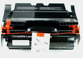 This is the front view of the Lexmark T640 black replacement laserjet toner cartridge by NXT Premium toner