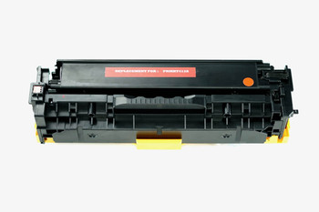 This is the front view of the Hewlett Packard 305A Magenta replacement laserjet toner cartridge by NXT Premium toner