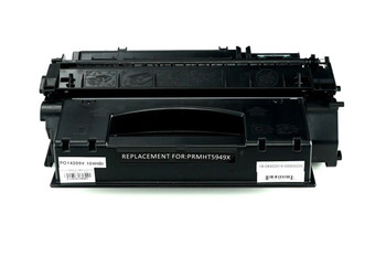 This is the front view of the Hewlett Packard 49X black replacement laserjet toner cartridge by NXT Premium toner