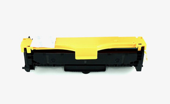 This is the front view of the Hewlett Packard 305A Yellow replacement laserjet toner cartridge by NXT Premium toner