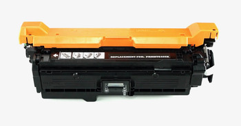 This is the front view of the Hewlett Packard 507X Black replacement laserjet toner cartridge by NXT Premium toner