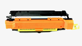 This is the front view of the Hewlett Packard 507A Yellow replacement laserjet toner cartridge by NXT Premium toner