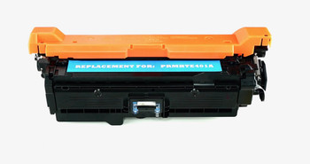 This is the front view of the Hewlett Packard 507A cyan replacement laserjet toner cartridge by NXT Premium toner