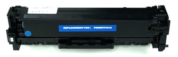 This is the front view of the Hewlett Packard 312A cyan replacement laserjet toner cartridge by NXT Premium toner