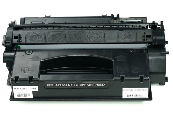 This is the front view of the Hewlett Packard 53X black replacement laserjet toner cartridge by NXT Premium toner
