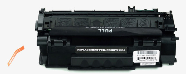 This is the front view of the Hewlett Packard 53A black replacement laserjet toner cartridge by NXT Premium toner