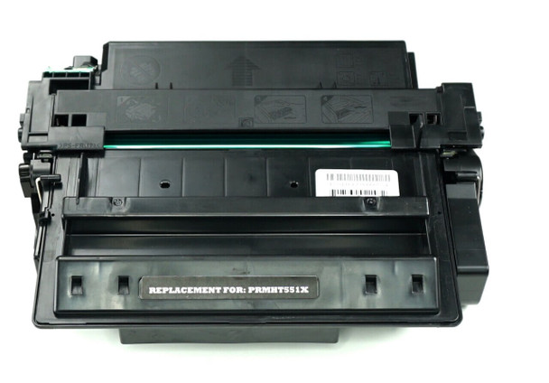 This is the front view of the Hewlett Packard 51X black replacement laserjet toner cartridge by NXT Premium toner