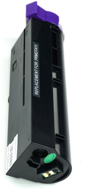This is the front view of the Okidata 44574701 black replacement laserjet toner cartridge by NXT Premium toner