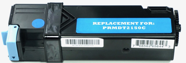 This is the front view of the Dell 769T5 Cyan replacement laserjet toner cartridge by NXT Premium toner