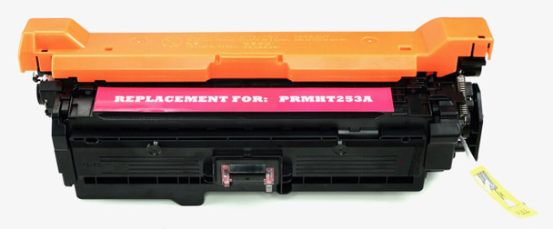 This is the front view of the Hewlett Packard 504A magenta replacement laserjet toner cartridge by NXT Premium toner