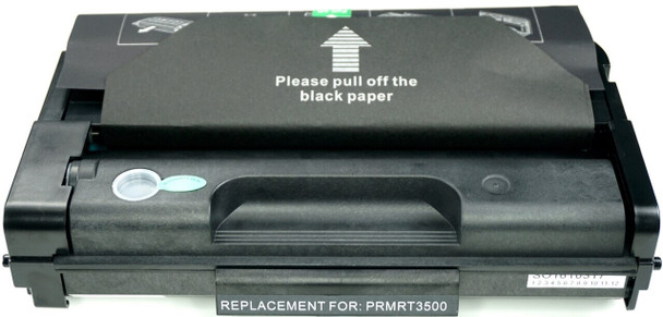 This is the front view of the Ricoh Aficio SP3500 black replacement laserjet toner cartridge by NXT Premium toner
