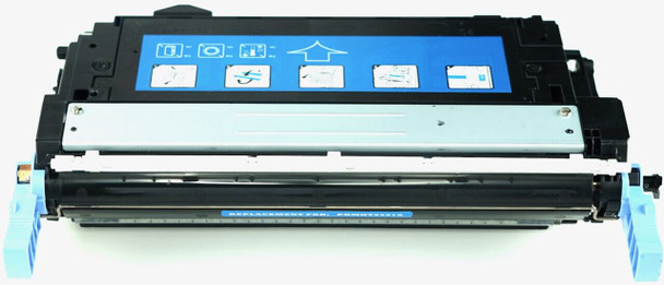 This is the front view of the Hewlett Packard 643A cyan replacement laserjet toner cartridge by NXT Premium toner