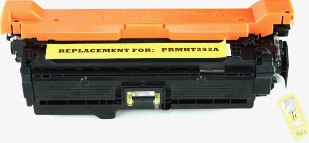 This is the front view of the Hewlett Packard 504A yellow replacement laserjet toner cartridge by NXT Premium toner