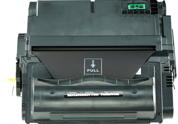 This is the front view of the Hewlett Packard 45A black replacement laserjet toner cartridge by NXT Premium toner