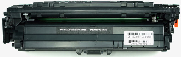 This is the front view of the Hewlett Packard 504X black replacement laserjet toner cartridge by NXT Premium toner