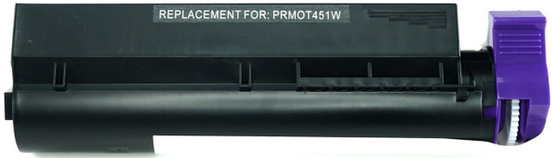 This is the front view of the Okidata 44992405 black replacement laserjet toner cartridge by NXT Premium toner