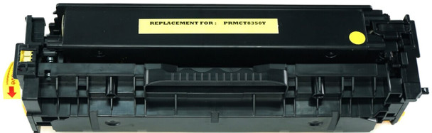 This is the front view of the Canon 118 yellow replacement laserjet toner cartridge by NXT Premium toner