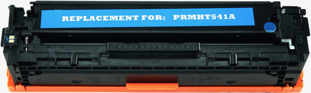 This is the front view of the Hewlett Packard 125A cyan replacement laserjet toner cartridge by NXT Premium toner