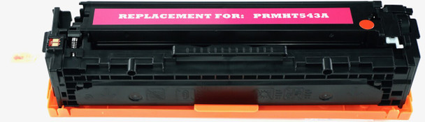 This is the front view of the Hewlett Packard 125A magenta replacement laserjet toner cartridge by NXT Premium toner