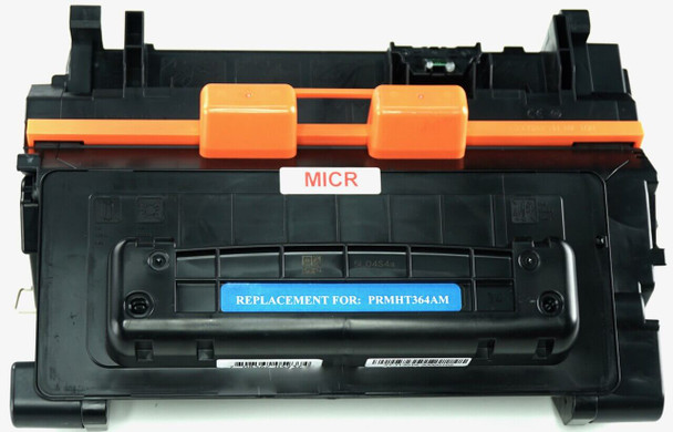 This is the front view of the Hewlett Packard 64A MICR replacement laserjet toner cartridge by NXT Premium toner